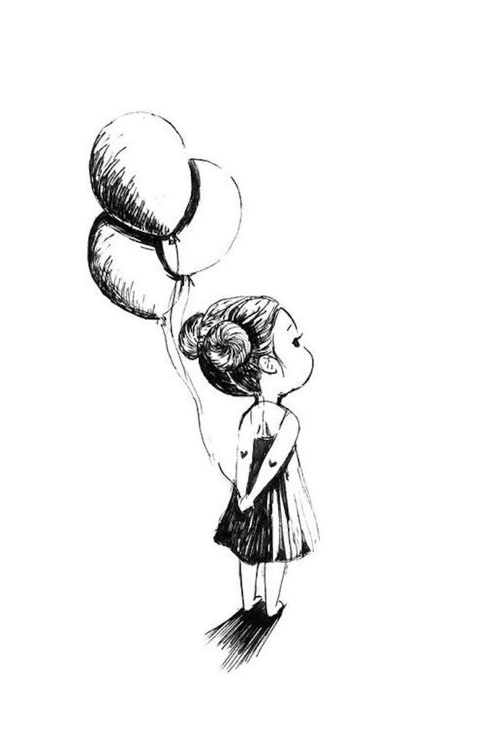 Süßes Bild zum Nachzeichnen, kleines Mädchen hält drei Ballons, Double Bun Frisur, weites Kleid, Herzen an beiden Armen