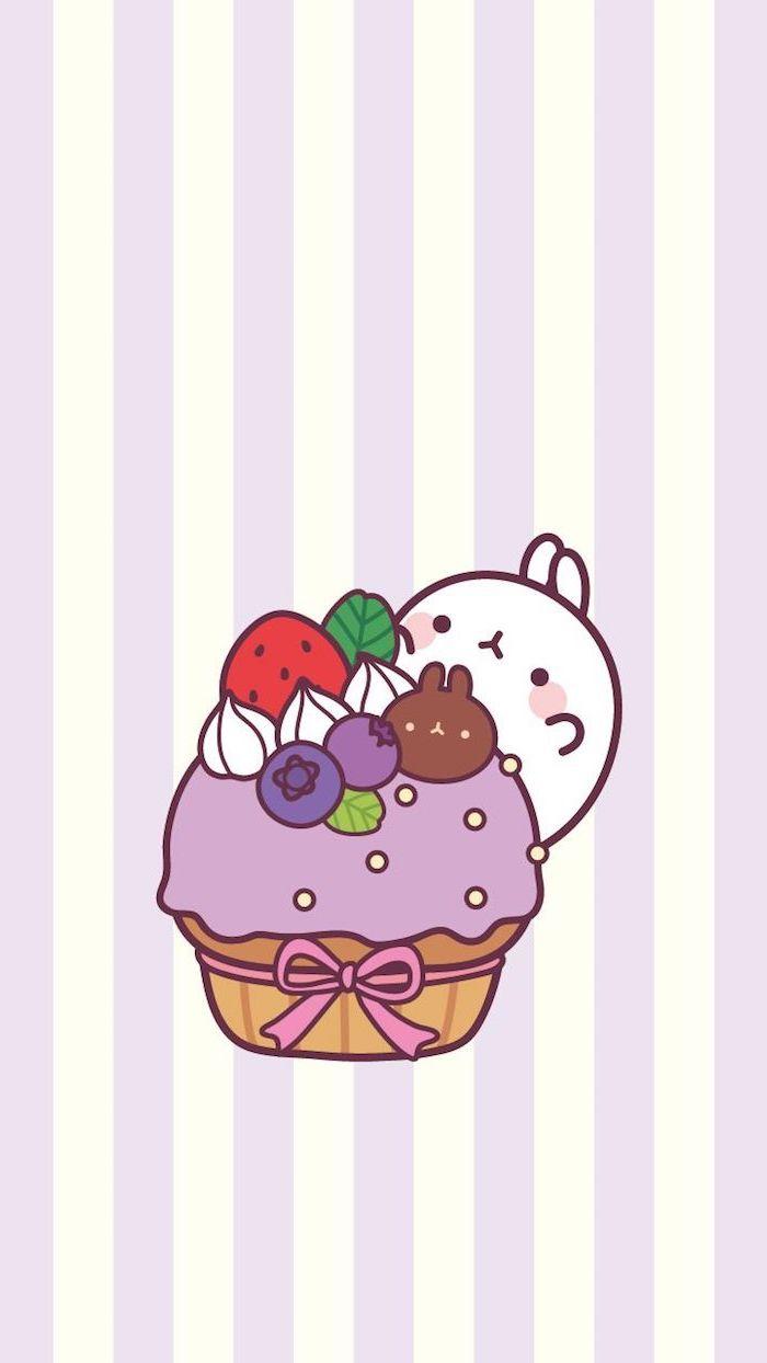 Kawaii Bild zum Nachmalen, Cupcake mit Fruchtcreme, Beeren und Sahne, weißer Hase