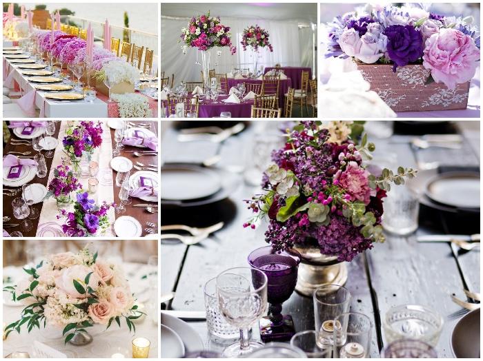 blumengestecke hochzeit, tischdeko in rosa und lila, dekoration, heiraten im frühling