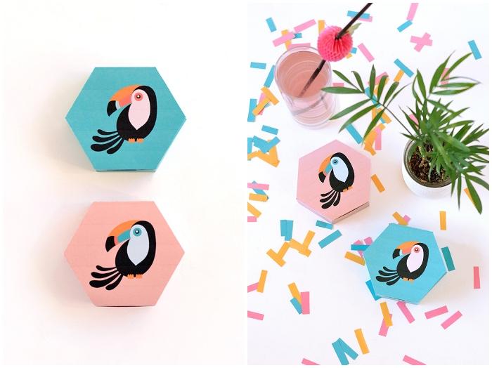 box basteln, zwei geschenkboxen mit tukanen, grüne pflanze, rosa cocktail