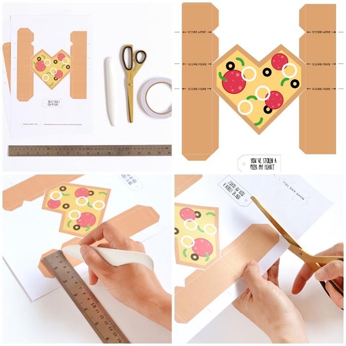 box basteln, schablone ausschneiden, pizzs stück, vorlage ausdrucken, goldene schere