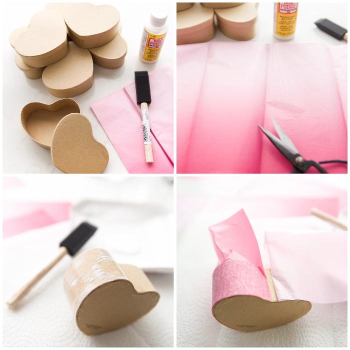 box basteln, kleine schachteln in form von herzen, rosa seidenpapier im ombre look