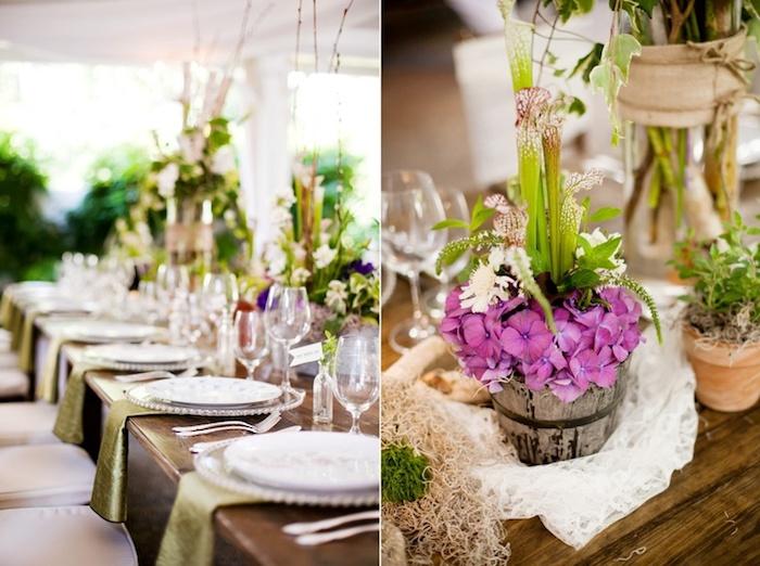 grüne servietten aus satin, deko hochzeit im rustikalen stil, weiße spitze