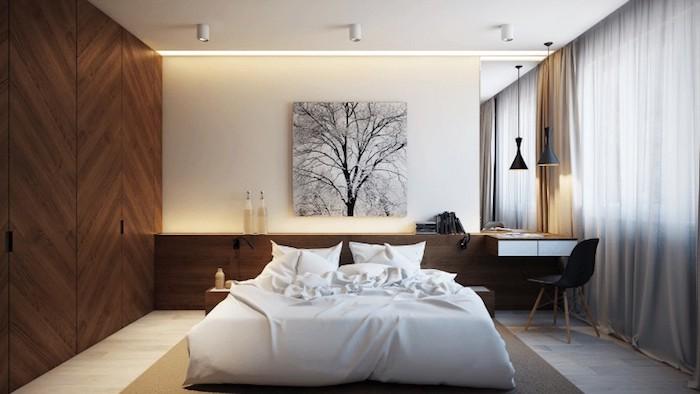 Deko Ideen Schlafzimmer, Led Beleuchtung, Bild über Dem Bett, Baum, Kleines  Zimmer
