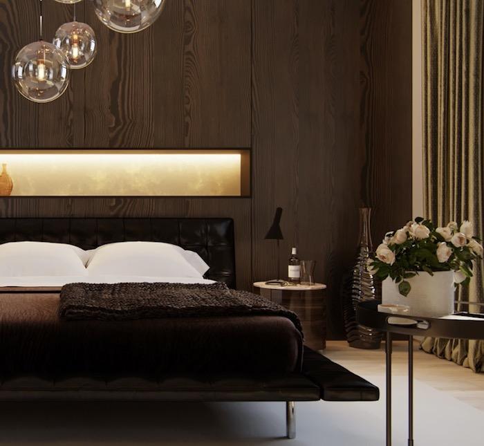 Runde Pendellecuhten, Deko Ideen Schlafzimmer, Wand Mit Holzpaneelen,  Schwarzes Bett