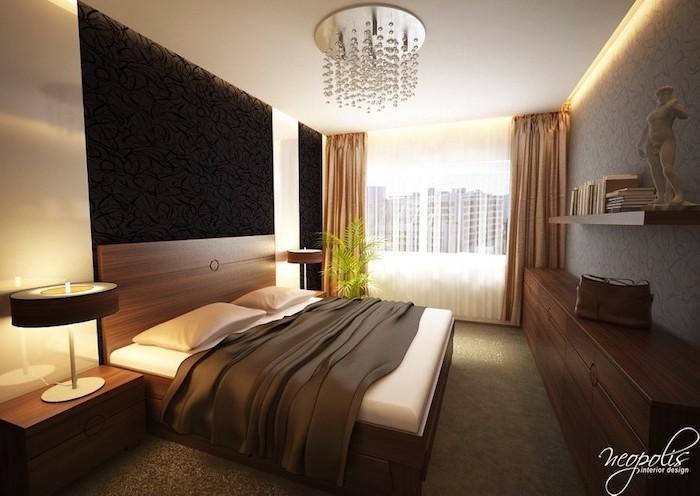 einrichtungsideen, deko ideen schlafzimmer, möbel set, blasen lecuhte über dem bett, runde tischlampe