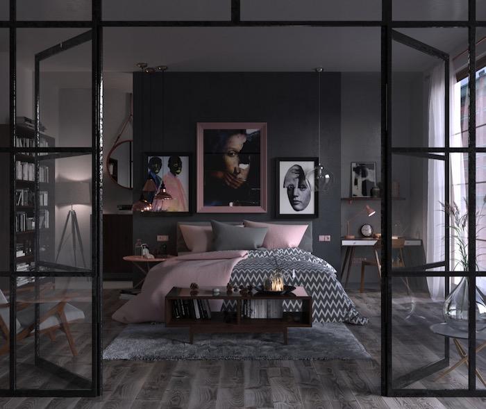 deko ideen schlafzimmer, einrichtung in grau und rosa, wandfarbe antharzit, wanddeko bilder