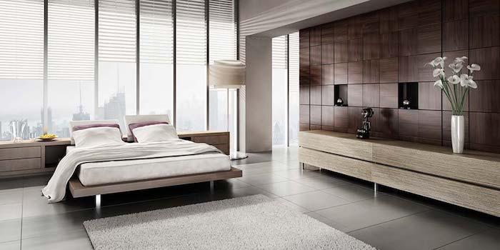 einrichtung in naturfarben, deko ideen schlafzimmer, möbel set, hölzerne wandpaneele, vase mit blumen