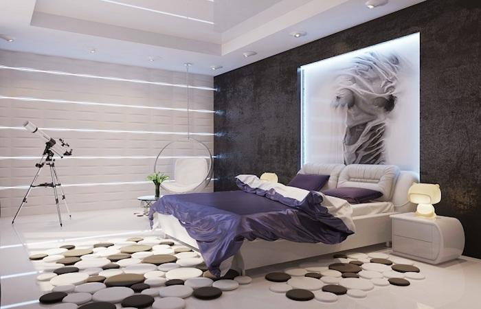 dkeo ideen schlafzimmer, lila bettwäsche, wandfarbe antharzit, teppich mit geometrischen elementen