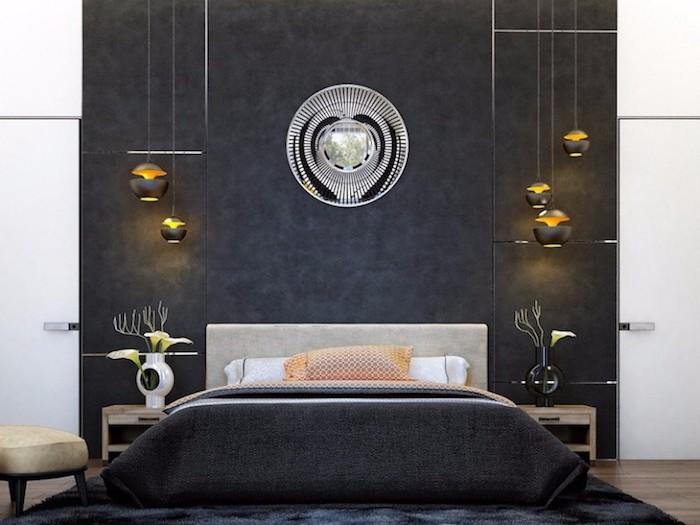 deko ideen schlafzimmer, wandfarbe antharzit, silberne wanddeko, runde pendellecuhten