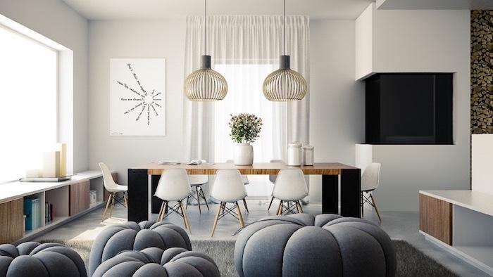 tapeten wohnzimmer modern ideen für bodenkissen, sitzkissen in verschiedenen größen in grauer farbe, zwei symetrische lampen, wandbild weiß