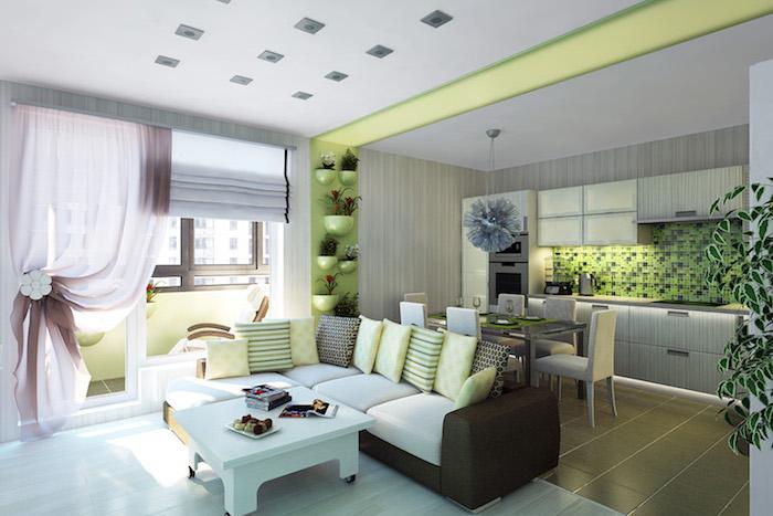 grüne farbe für moderne einrichtung zu hause, grüne tapeten, wandfarbe grün, sofa, vorhänge