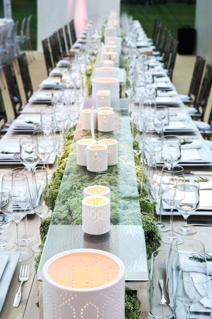 dekoration hochzeit, weiße windlicher aus ton, langer tisch dekorieren, heiraten