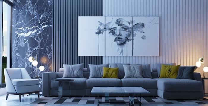 blaues design wohnzimmer inspiration ideen kissen in blau grau und grün, hellgrün, lampen, marmor motive