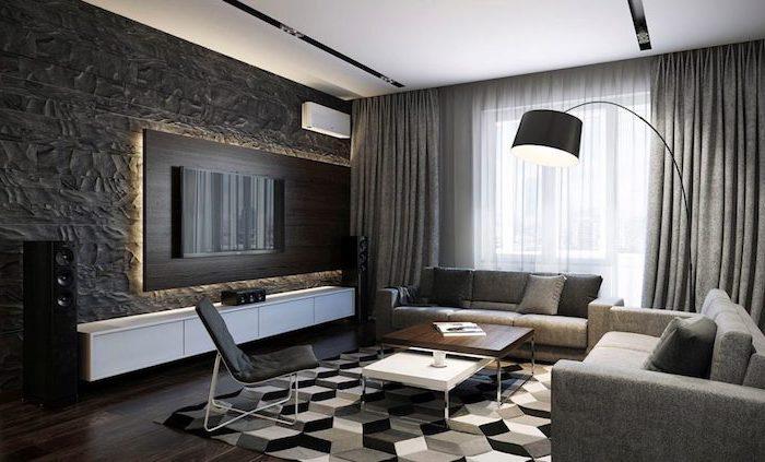 schwarze tapeten wohnzimmer modern, fernsehwand in schwarzer farbe mit schöner beleuchtung