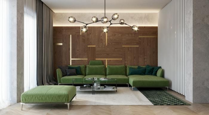 grün und braun design wohnzimmer, naturfarben natürliches design, lampe, teppich helle farbe