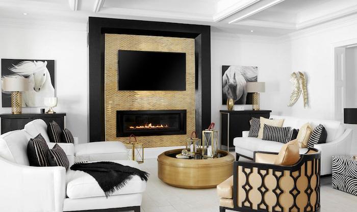 design wohnzimmer, beiges design, fernseher, runder tisch, weißes sofa, schwarze decke
