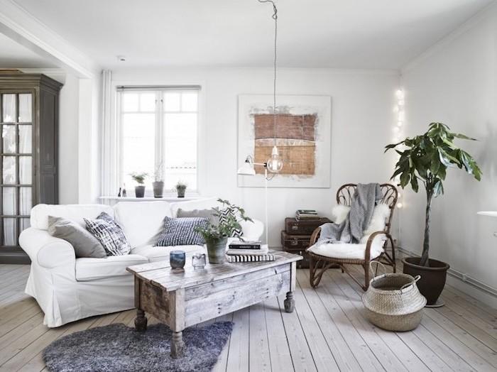 wohnzimmermöbel ikea, ausgetragener look der möbel designer ideen, tisch, sofa, pflanze, bild