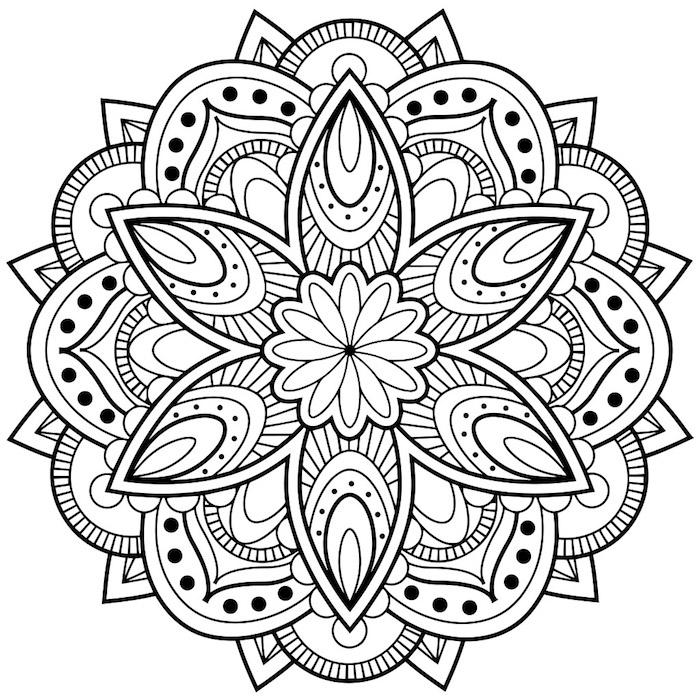 mandala blumen zum ausmalen, ein bild mkt einer großen mandala figur mit einer großen weißen mandala blume mit weißen und schwarzen blättern, malvorlagen blumen für kinder, basteln mkt papier ideen