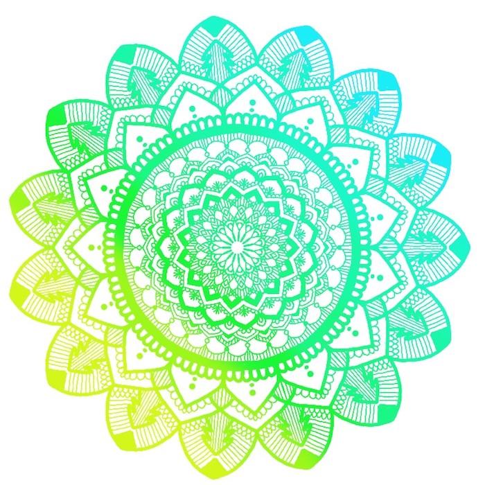 eine mandala figur mit einer großen grünen mandala blume mit grünen und gelben blättern, ausmalbilder blumen, mandala zum ausdrucken für erwachsene