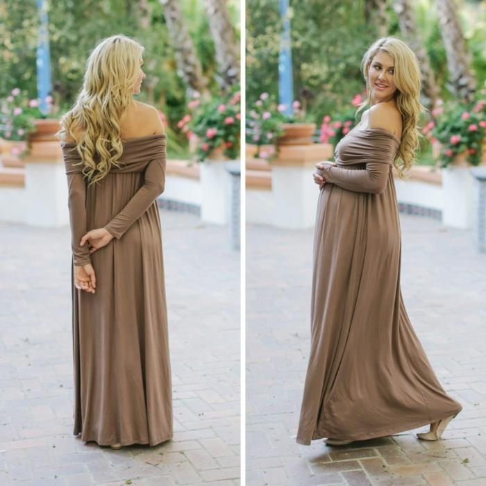 zwei Fotos von Abendkleider für Schwangere in beiger Farbe, Kleid aus zwei Teilen für blonde Schwangere