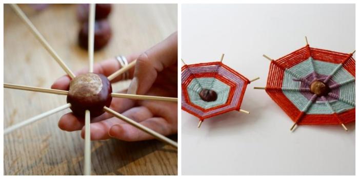 ein Collage aus zwei Fotos, wie Sie dieses Projekt schaffen, Bastelideen Herbst mit Kastanien