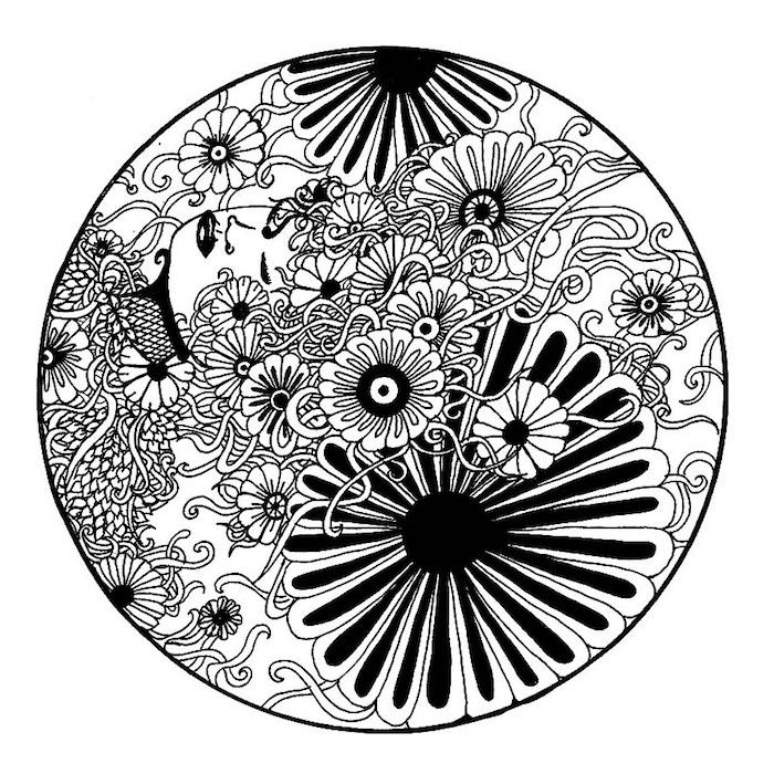 ein schwarzer kreis mit einem kleinen weißen halbmond und vielen kleinen schwarzen und weißen . mandala blumen