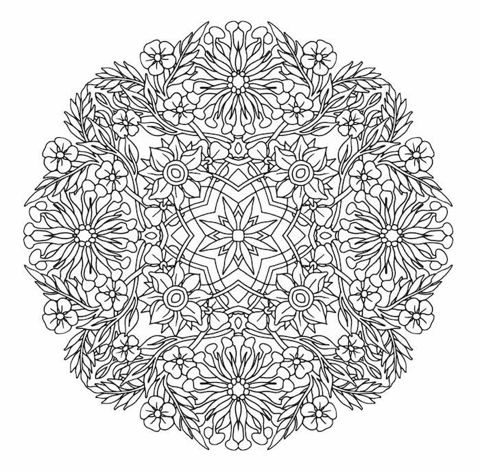 ein ausmalbild mit einem großen kreis aus vielen kleinen weißen und schwarzen mandala blumen und blättern, blumen vorlagen zum ausdrucken