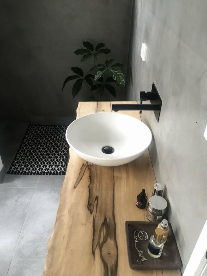 Badezimmer Ideen für kleine Bäder, ein rundes Waschbecken, Platte aus Holz, Betonboden und Wände