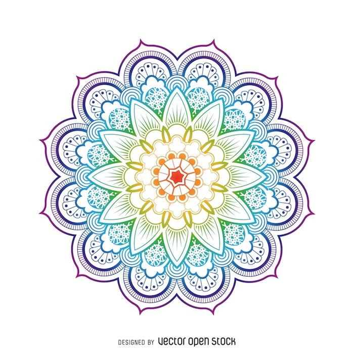 ein bild mit einer großen bunten mandala blume mit blauen, violetten und grünen und gelben blättern, blumen vorlagen zum ausdrucken