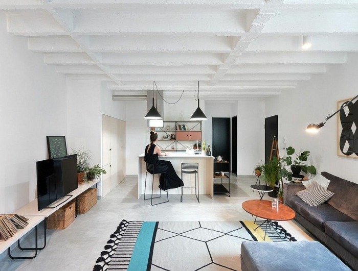 eine Einzimmerwohnung, ein bunter Teppich, ein Ledersofa, ein runder Tisch, Fußboden Betonoptik