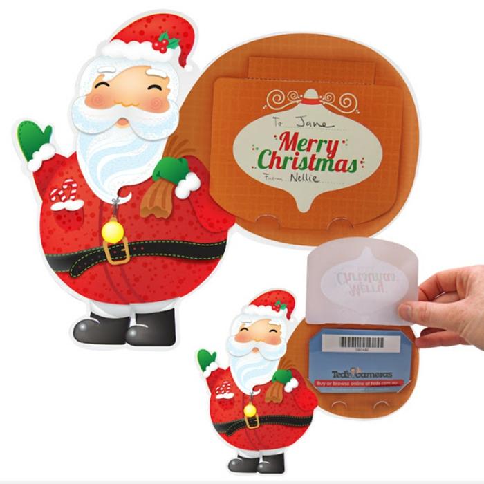 was hat Ihnen der Weihnachtsman mitgebracht, eine Karte, Geschnenkgutscheine verpacken