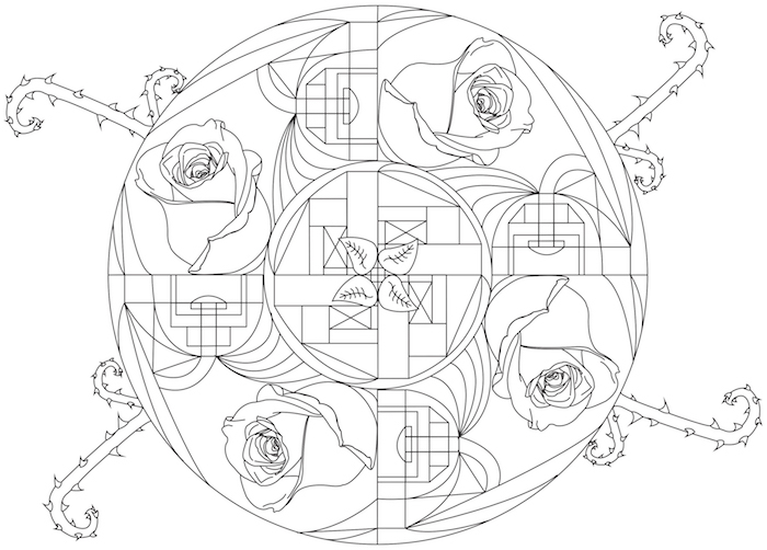 ein kreis mit vier weißen rosen und mit anderen blumen und vielen kleinen weißen blättern, mandala blumen zum ausmalen