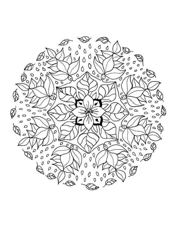 ein mandala kreis aus vielen kleinen weißen blättern und mit weißen wesen und einer kleinen weißen mandala blume, wesen mit schwarzen augen mandalas ausmalen kostenlos