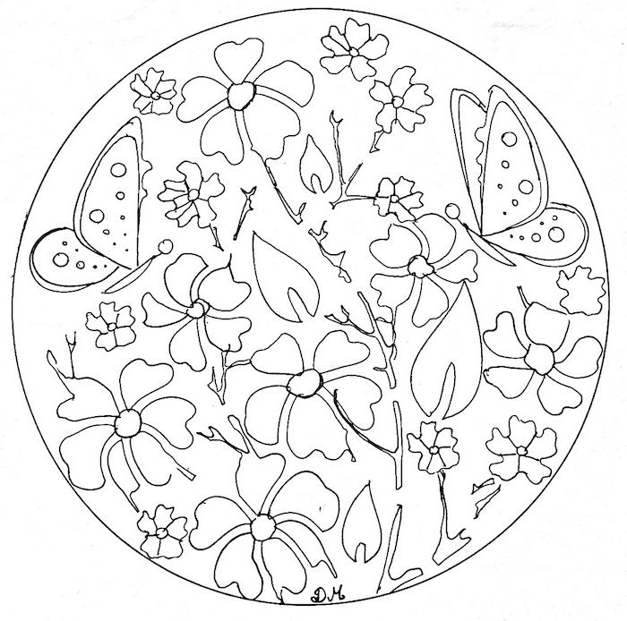 ein schwarzer kreis mit einem ausmalbild mit zwei großen weißen fliegenden schmetterlingen und mit vielen weißen blumen und weißen blättern, malvorlagen blumen mandala