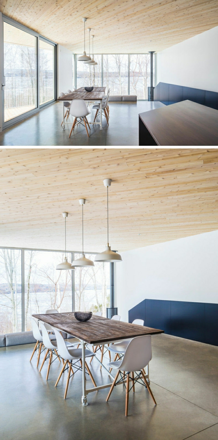 zwei Fotos von einer Ausstattung, polierter Beton, Pendelleuchten, Esszimmer mit praktischer Einrichtung