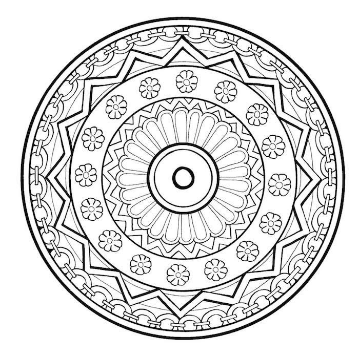 ausmalbilder blumen zum ausdrucken, ein schwarzer mandala kreis mit vielen kleinen weißen mandala blumen, eine große mandala blume