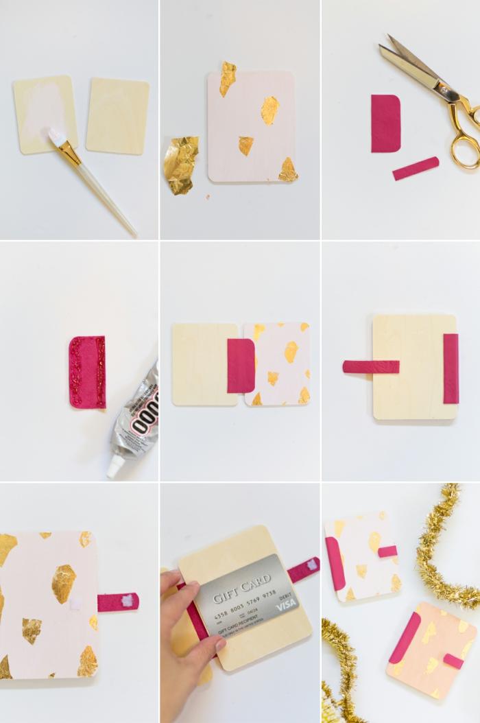 zwei Stück Holz, färben Sie diese in weißer Farbe, mit goldenen Papier, Geschenke schön verpacken
