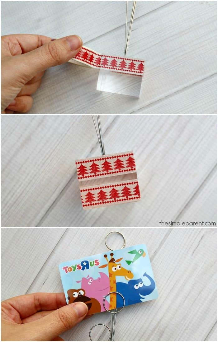 mit Washi Tape bekleben, Muster wie kleinen Tannenbäume in roter Farbe, Gutschein selber machen