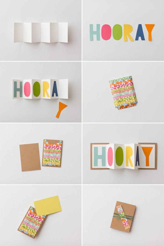 Gutschein selber machen und verpacken Schritt für Schritt Anleitung mit Aufschrift Hooray