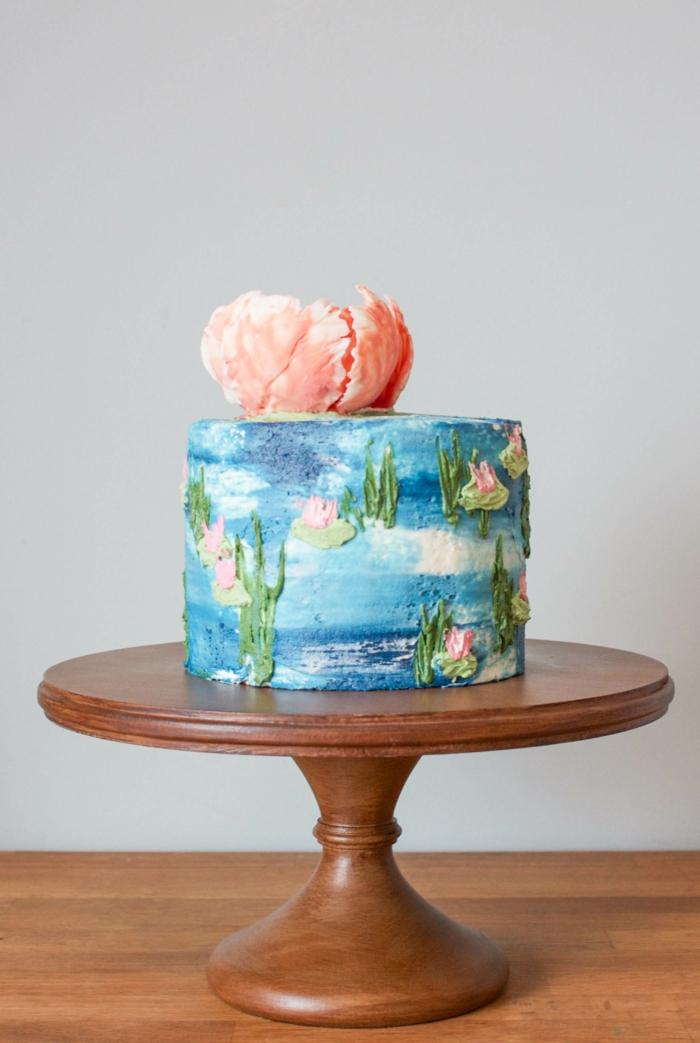 eine Torte mit Motiven von Seerosen, schneller Kuchen mit herrlicher Dekoration