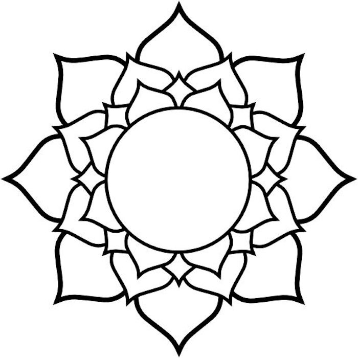 ausmalbilder mit mandala blumen, ein bild mit einer großen weißen blume mit schwarzen und weißen blättern, mandalas ausmalen kostenlos