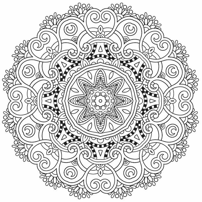 ein ausmalbild mit einer großen weißen mandala blume mit weißen und schwarzen blättern, mandala zum ausdrucken für erwachsene