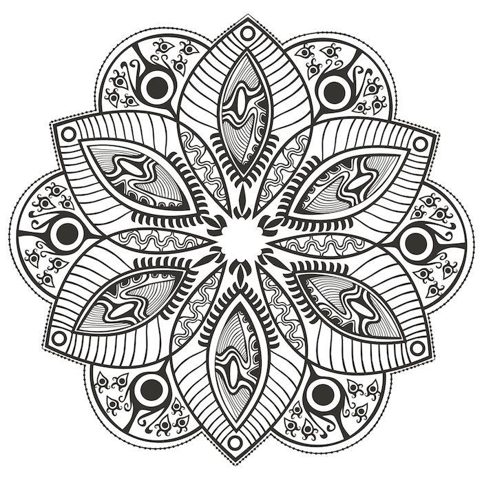viele kleine schwarze fische und verschiedene mandala motive, malvorlagen blumen, ein ausmalbild mit einer großen weißen mandala blume mit schwarzen und weißen mandala blättern