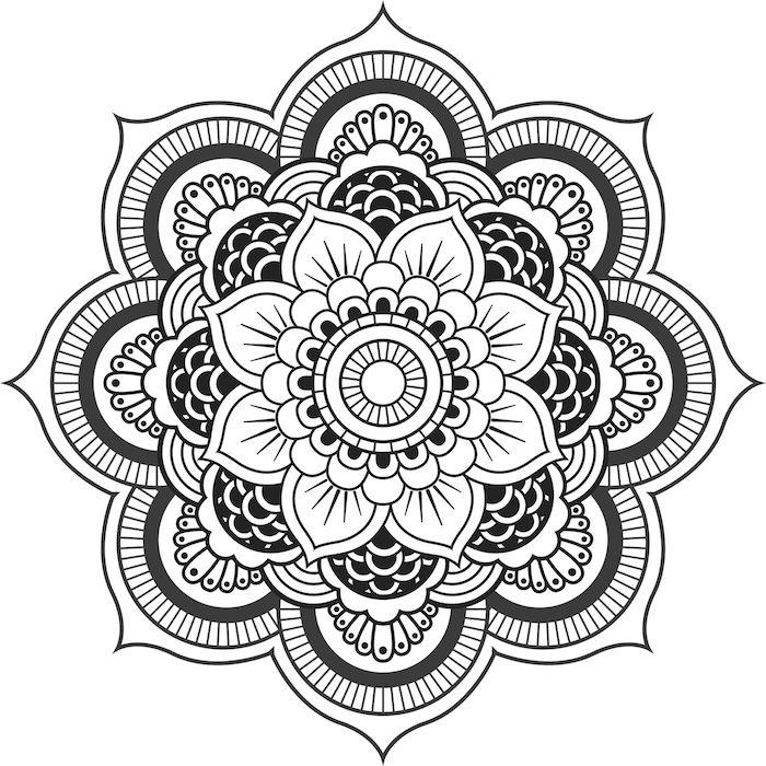 ein bild mit einer großen weißen mandala blume mit weißen und schwarzen blättern, mandala zum ausdrucken für erwachsene, blumen zum ausmalen
