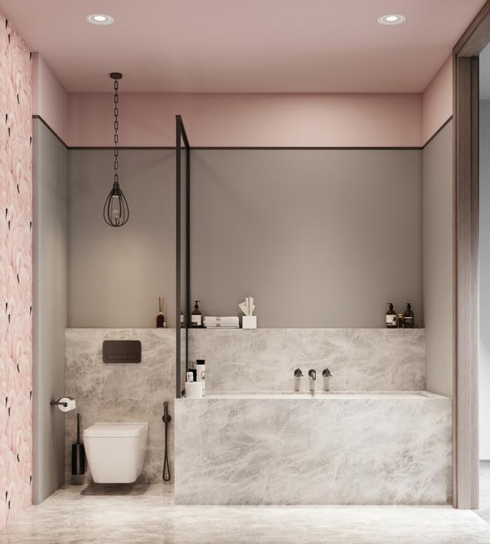 Marmor Badewanne, Marmorboden, graue Wände und rosa Decke, Badezimmer Ideen für kleine Bäder