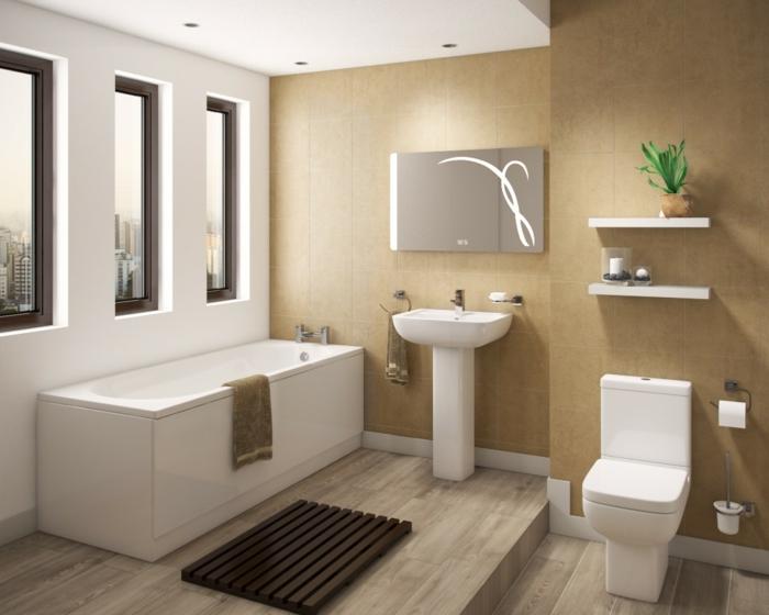 Badezimmer Gestaltungsideen, eine weiße Badewanne, Laminat Bodenbelag, braune Wände