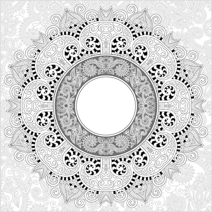 ein bild mit einer großen weißen mandala blume mit weißen und schwarzen blättern, blumen vorlagen zum ausdrucken