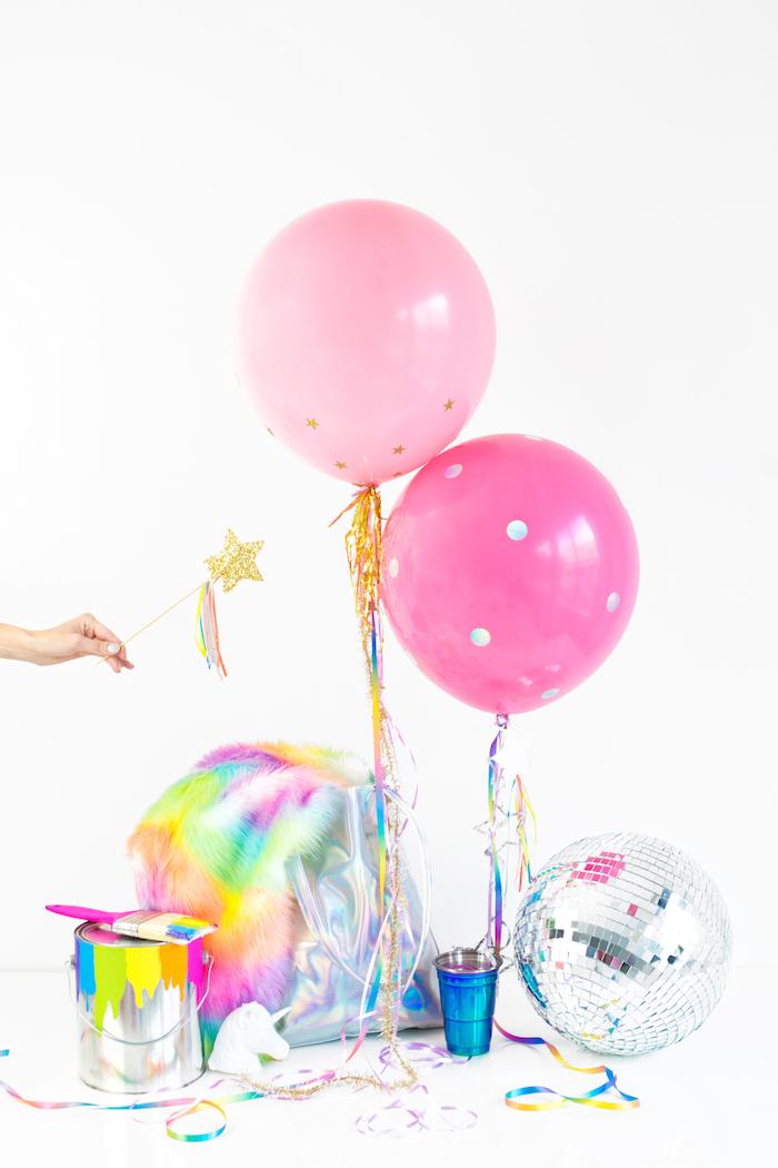 Ideen für selbstgemachte Geburtstagsdekoration, Zauberstab mit kleinem Sternchen, rosafarbene Ballons