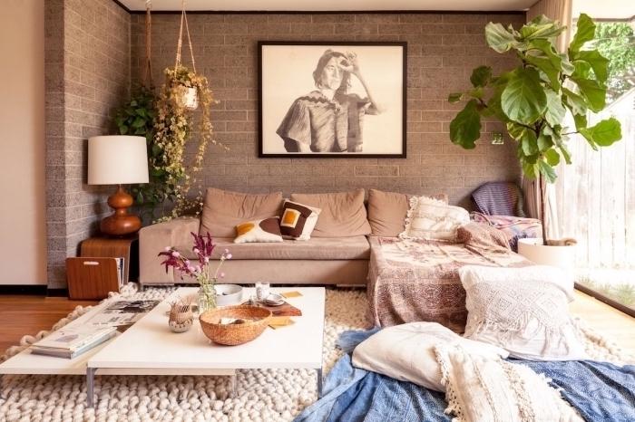wohnzimmereinrichtung in tribal style ideen zum gestalten, beige möbel und deko ideen